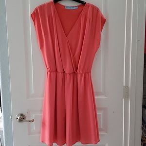 Faux wrap apricot dress